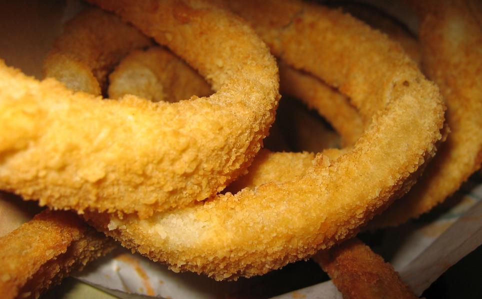The onion rings are housemade and greaseless (perhaps too grease-free for us).