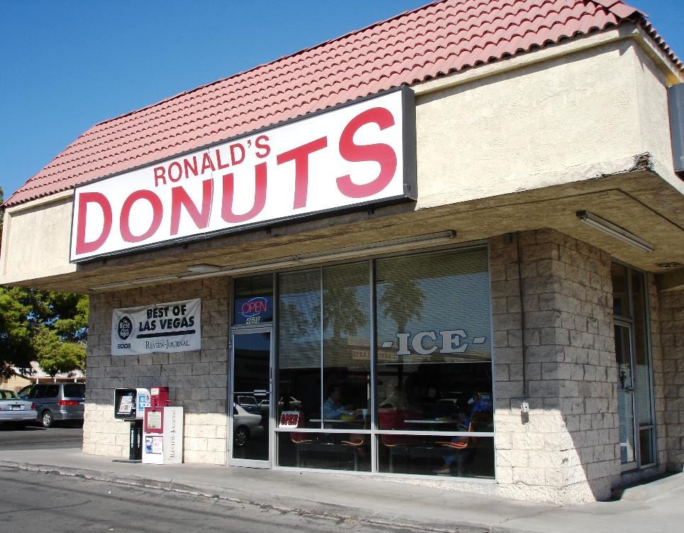 Ronald's Donuts gives no outward appearance of being anything special, but the donuts are far from ordinary. Most business is take-out, but there are a couple of tables for those who just can't wait.