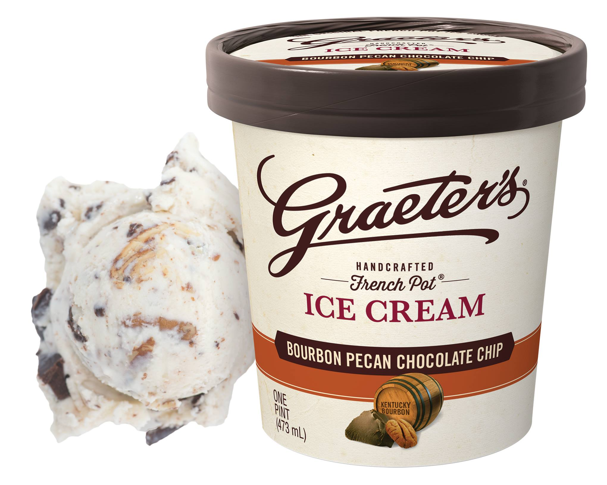 Graeter's new seasonal flavor is Bourbon Pecan Chocolate Chip. Made with Kentucky Bourbon.