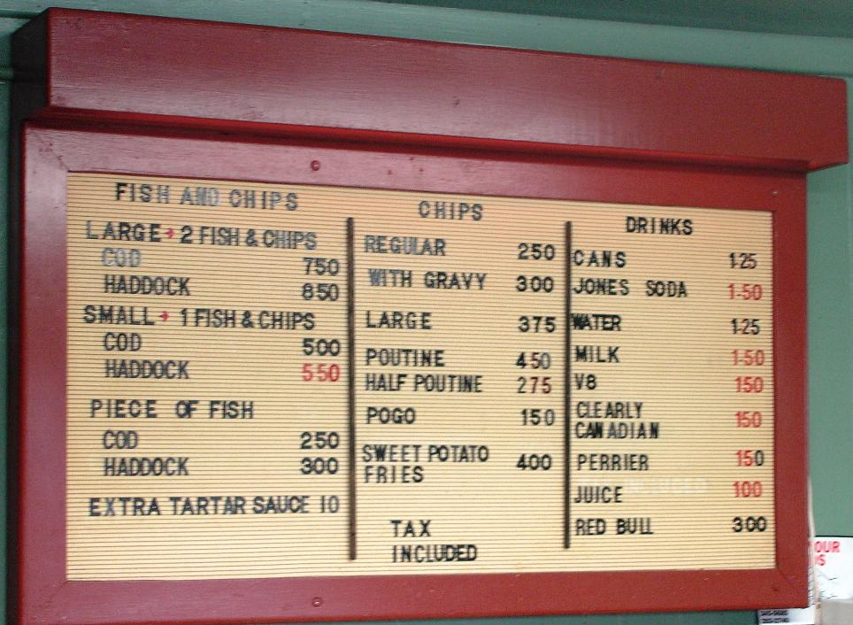 Don's menu is simple: fish, potatoes, Pogos (corn dogs), and drinks.