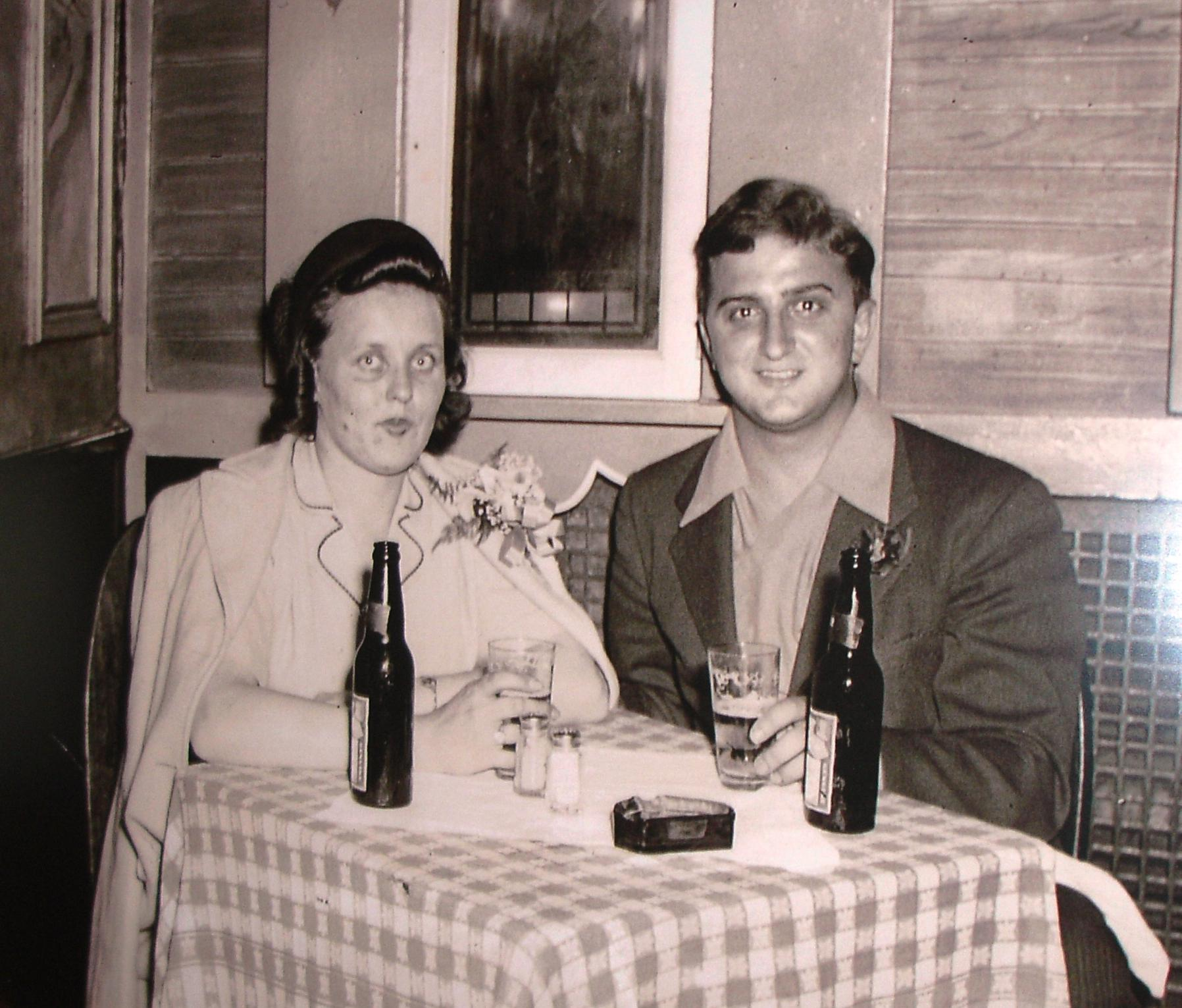 There are historical photos posted around the restaurant, like this one showing founder Chick with his wife Sophie. Want to be able to identify Chick's grandson (Sam, the owner) in today's restaurant? Imagine this photo of Chick with his head shaved, and he could practically be Sam's twin!