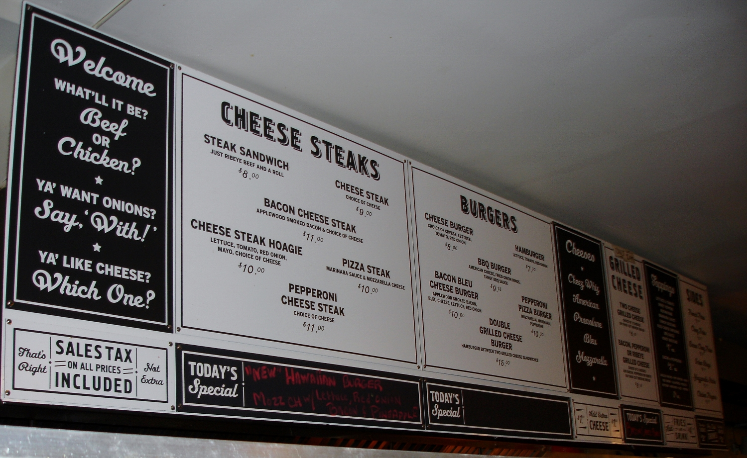 Cheesesteaks, burgers, and grilled cheese sandwiches are all the offer, other than sides and drinks. There is bleu cheese for your cheesesteak, if that's what you really want.