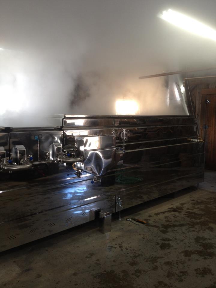 The evaporator operating full steam ahead at the North Hadley Sugar Shack