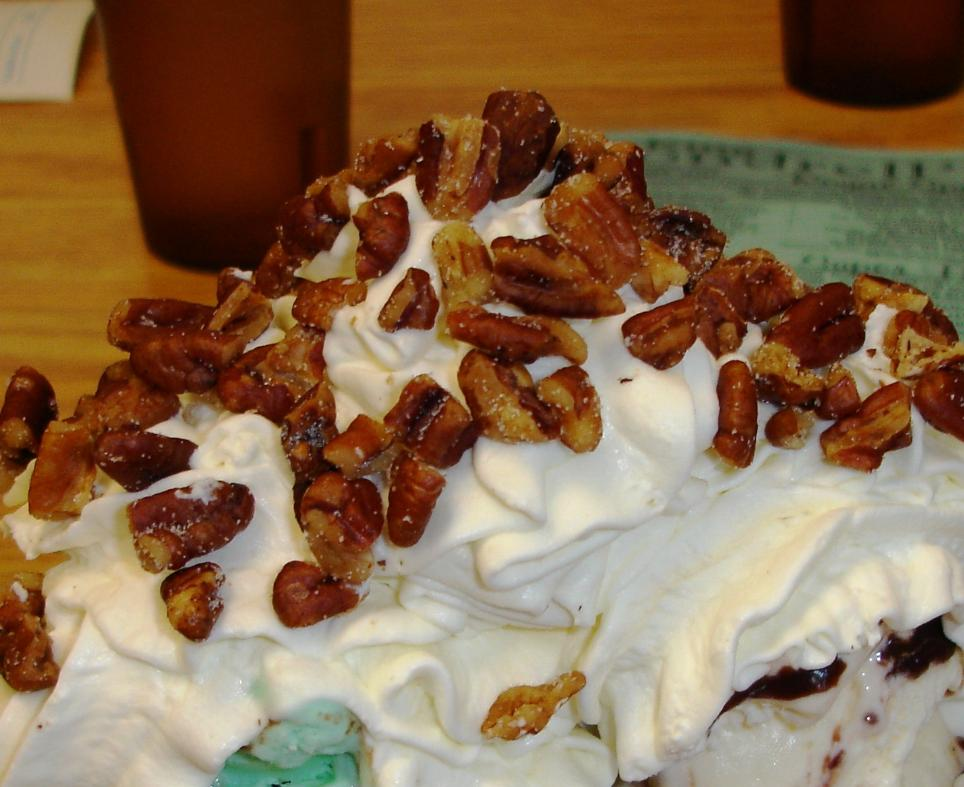 The whipped cream and toasted nuts are impeccable.
