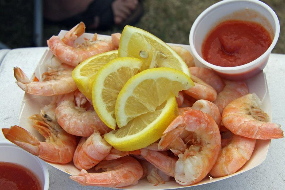 There will be plenty of locally caught pink shrimp, freshly-steamed and iced.