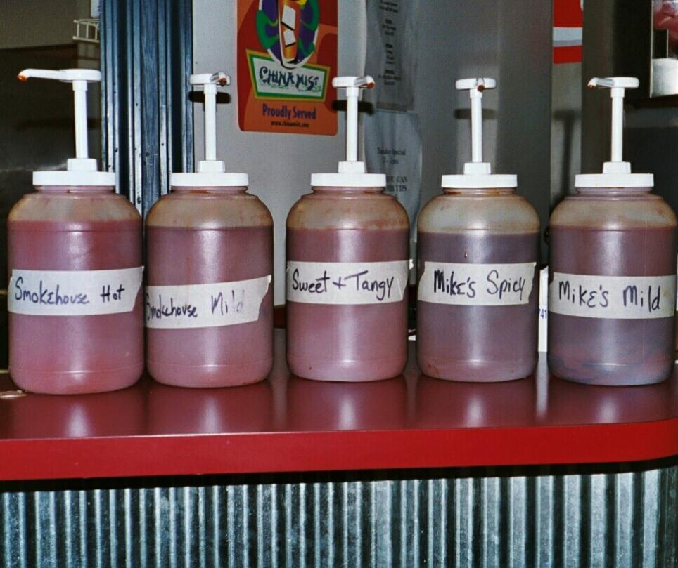 South Street offers a selection of barbecue sauces with which to doctor your food.