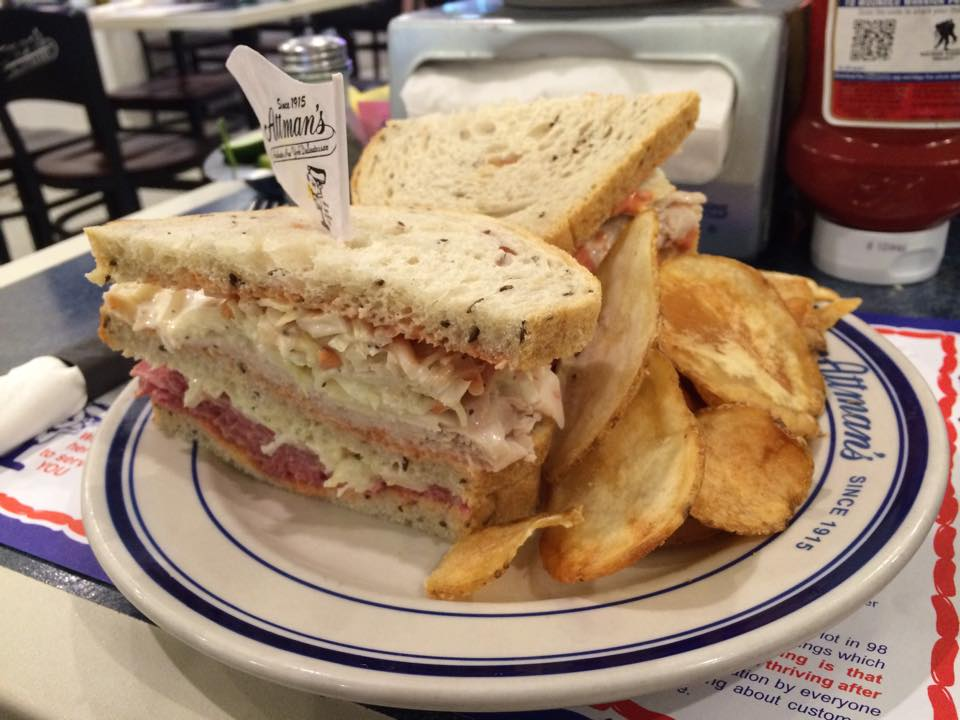 Sara's Dagger features fresh roasted turkey, hot corned beef, homemade cole slaw, and Russian dressing.