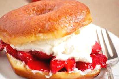 Strawberries and cream-filled donut