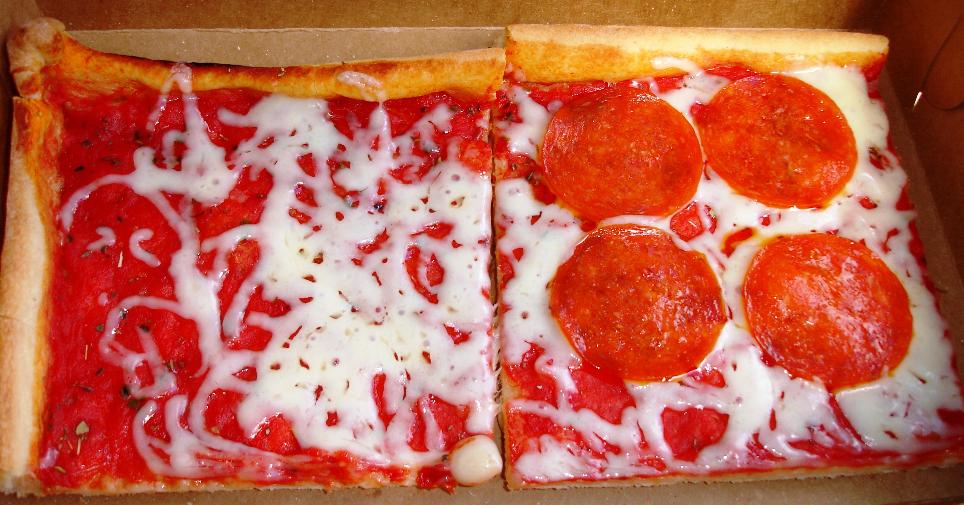 Even slices are baked to order. The limited extra toppings include pepperoni, extra shredded cheese, and a slice of provolone cheese.