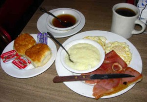 Country ham, biscuits, grits, red eye gravy ...