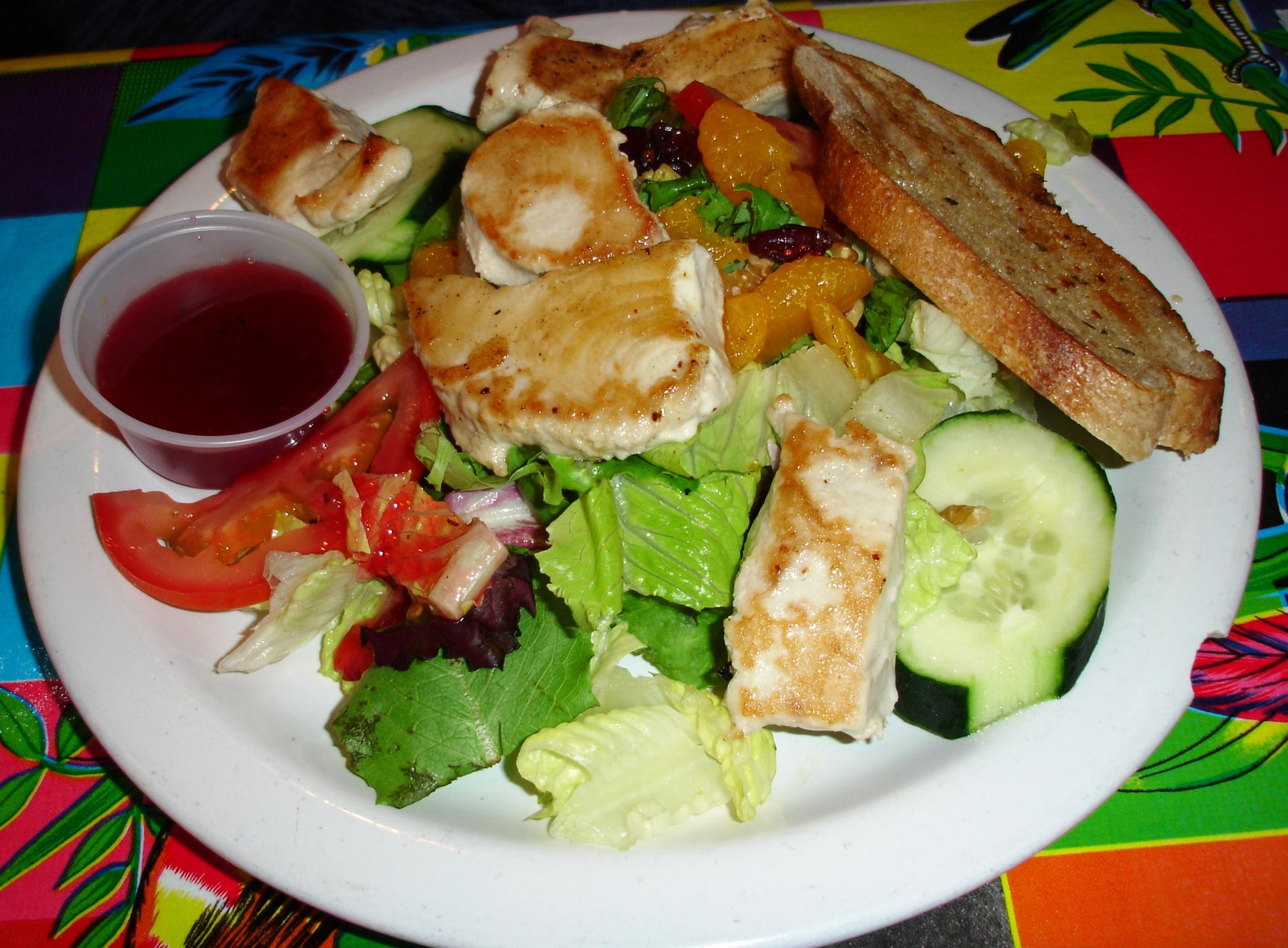 We ordered a salad topped with grilled ling cod but received one topped with grilled albacore, which was fine. After years of eating tuna either raw or seared and raw in the center, it is fascinating to taste it cooked all the way through as is done all over the Oregon coast. Yes, there is some of that familiar, meaty Chicken-of-the-Sea texture, but the juiciness and clean flavors are a revelation.