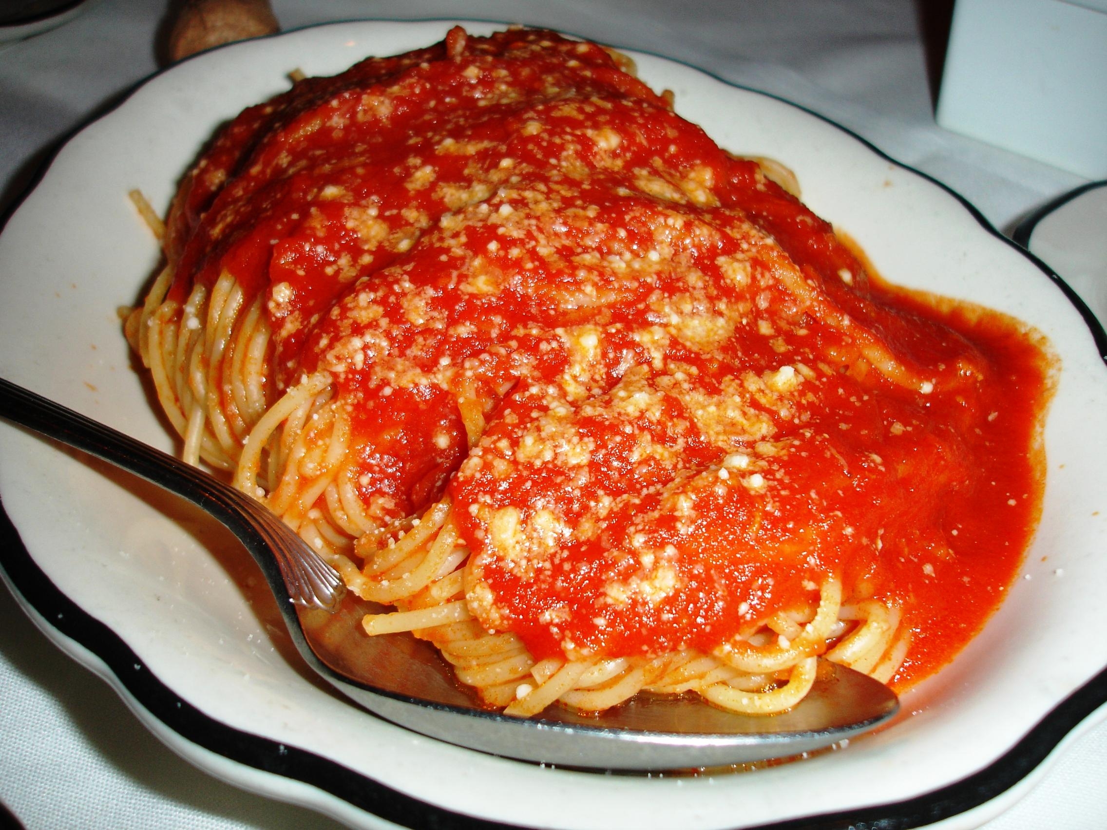 Non-pasta entrees come with a huge side of pasta.