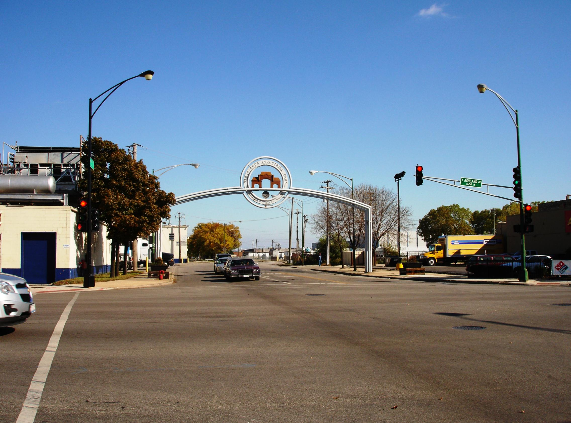 Here's that same entrance to the old stockyards today.