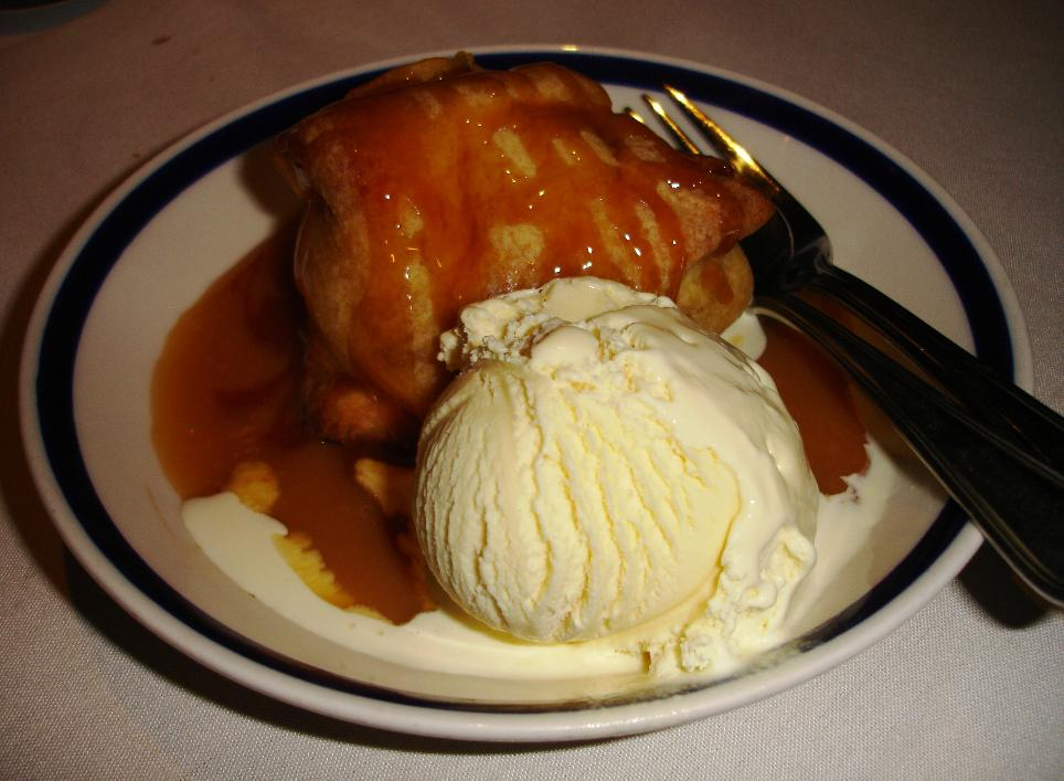 In our opinion, the fresh-baked apple dumpling with a scoop of ice cream is the best dish in the house.