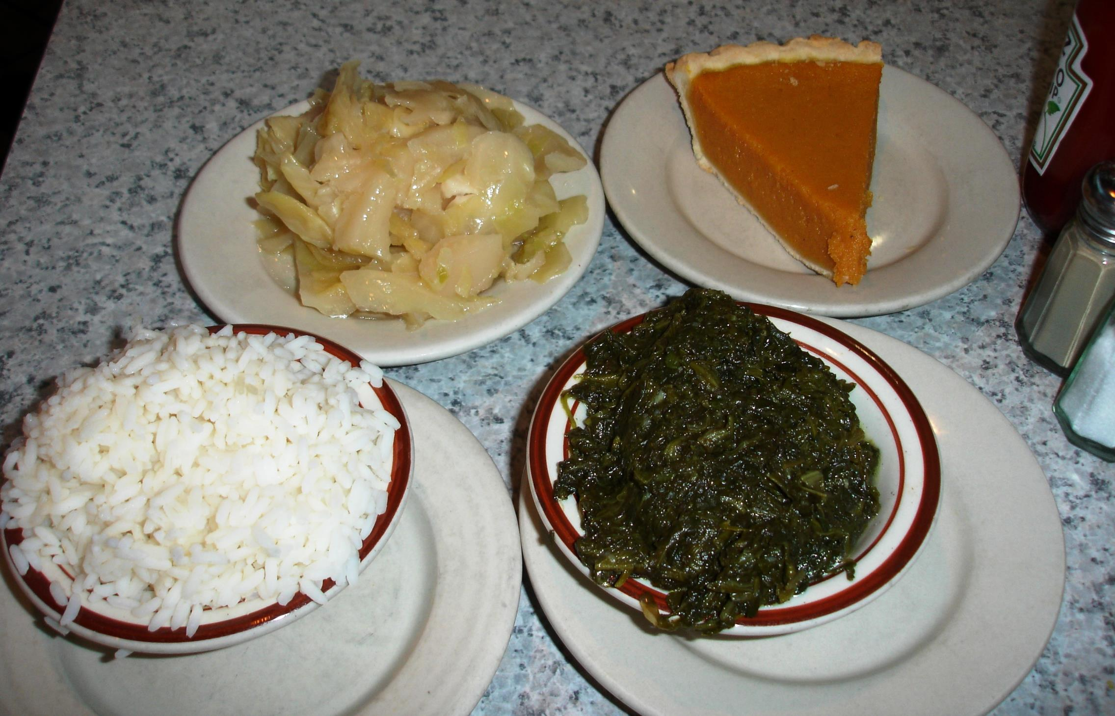 Cabbage, white rice, greens - all were fine. The pumpkin pie was exceptional.