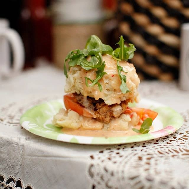A previous year's Biscuit Boulevard offering: the Country Fried Dream, a buttermilk biscuit with country fried steak, black pepper gravy, heirloom tomato, and arugula.