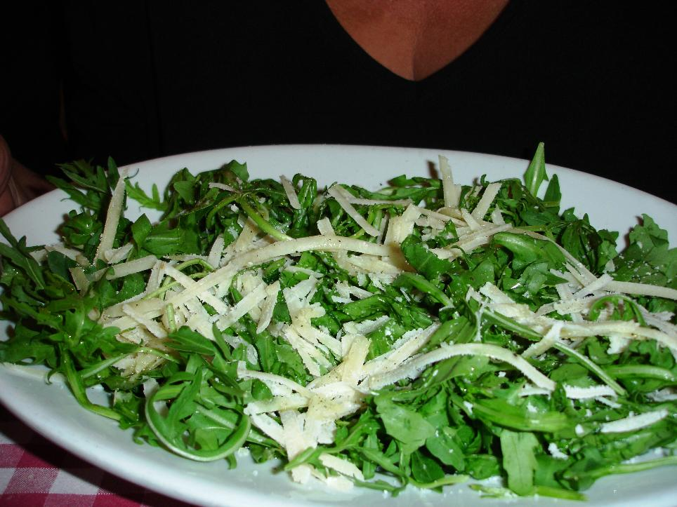 A simple salad of greens and cheese.  We believe the greens are another favorite of Rome called puntarelle, a type of chicory with a mildly bitter edge.