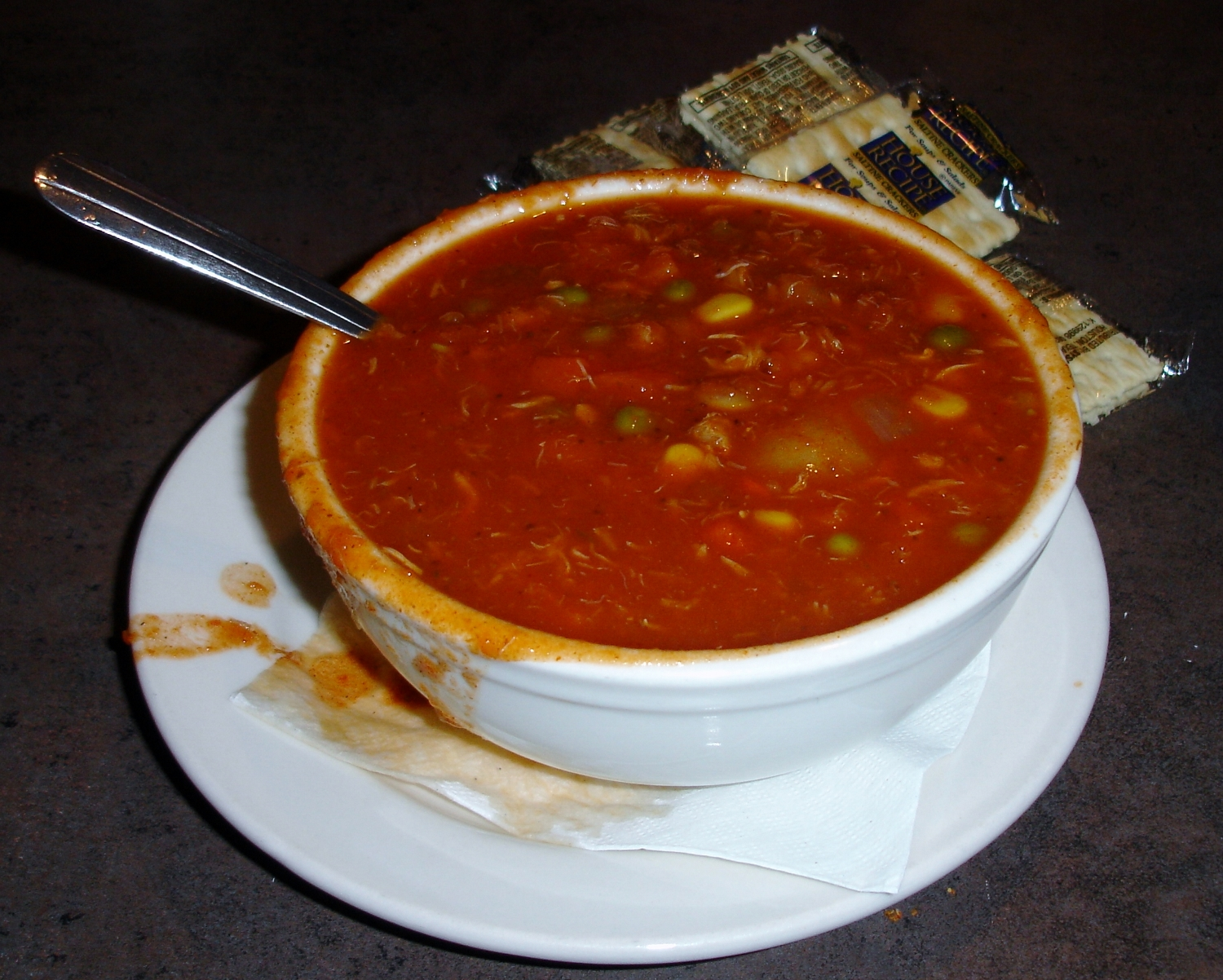 Tomatoey Maryland Crab Soup is heavily flecked with shreds of crab (and the occasional bit of shell). Yes, those are apparently frozen mixed vegetables in the brew and, yes, that's how the soup is made. We recommend a cup.