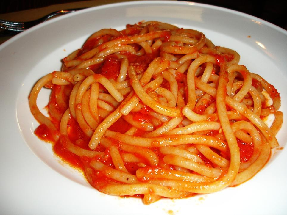 Pici are a thick pasta specialty of southern Tuscany.  They are generally handmade, although these don't appear to be.  Much like extra thick spaghetti, with a wonderfully toothsome quality.