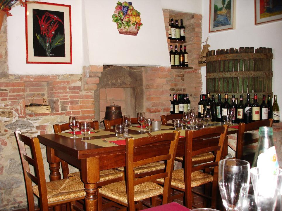 Bare wood tables, exposed brick, and wine bottles