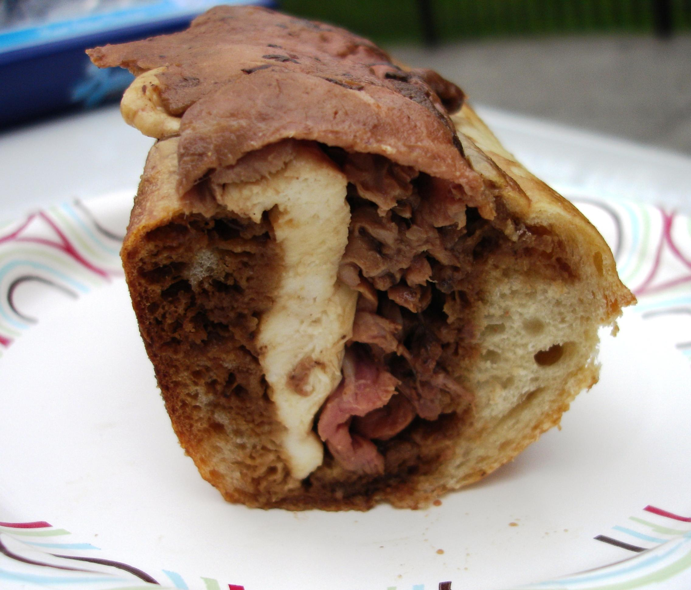 A cross section of Fiore's spectacular roast beef and mutz hero