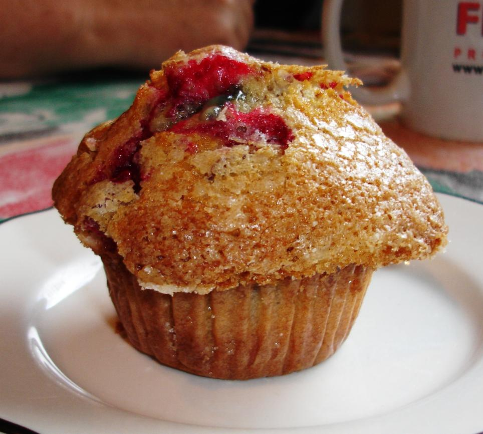 This day's homemade muffin selection included a cranberry-nut, with a crisp sugared crown, that was well-nigh perfect.