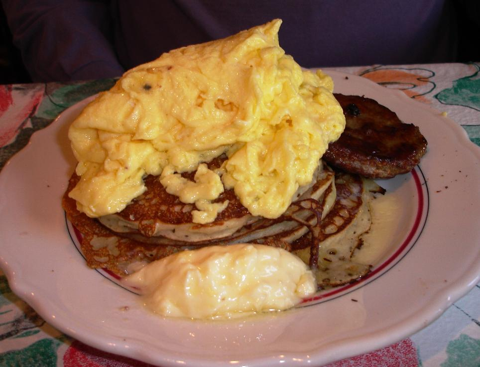 Perhaps the signature breakfast item at Fishers Station, the perpetual special called 2*2*2 is supposed to include two eggs, two sausage patties, and two pancakes.