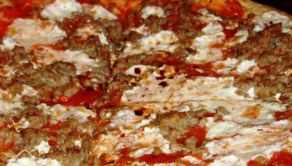 The house pie features some very spicy sausage.