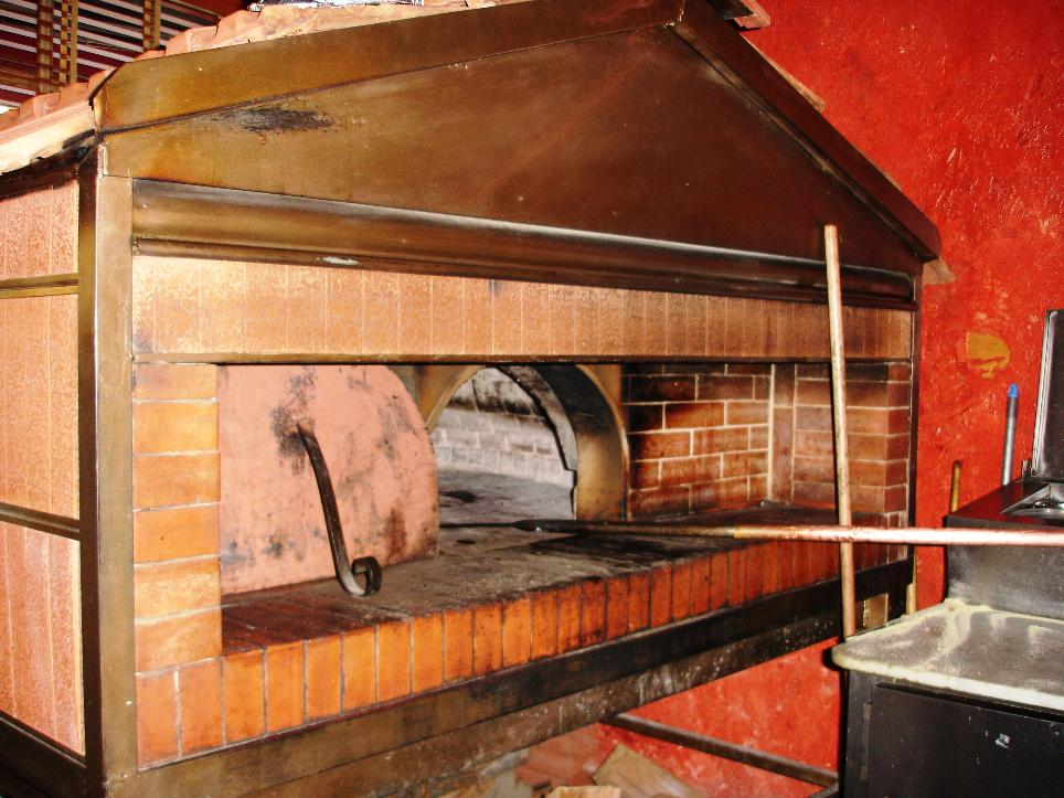 The great pies are baked in this beautiful wood-fired oven.