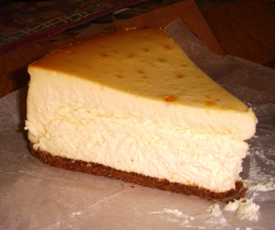 The cheesecake is dense and creamy. The picture doesn't show it, but a slice will feed three generously.