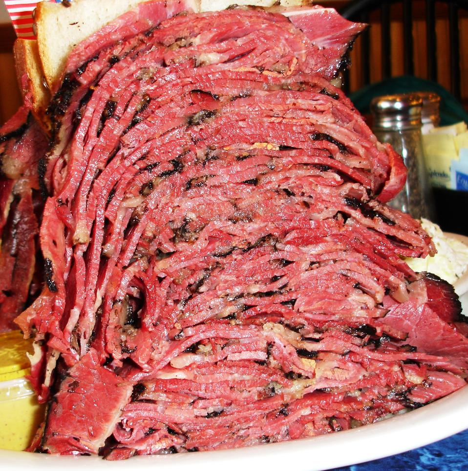 The large pastrami sandwich holds 26 ounces of meat. This is half a sandwich.