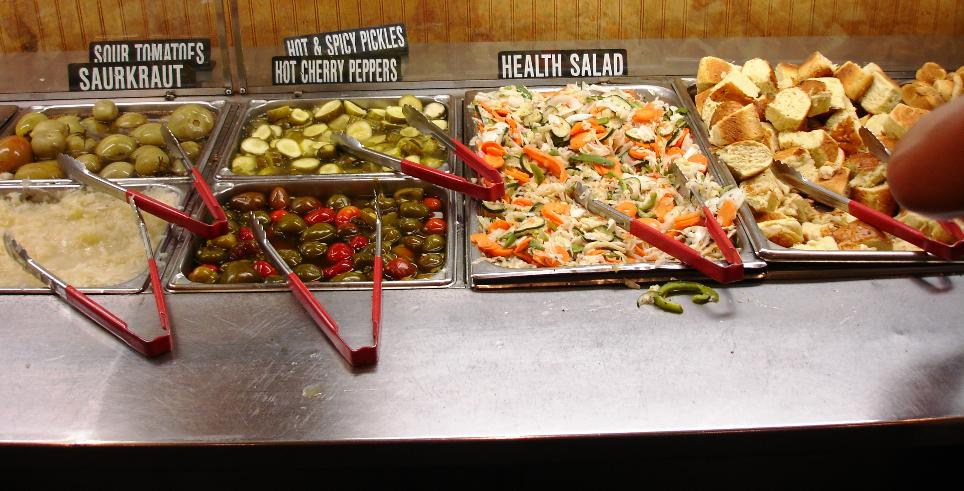Part of the pickle bar; the health salad is terrific.