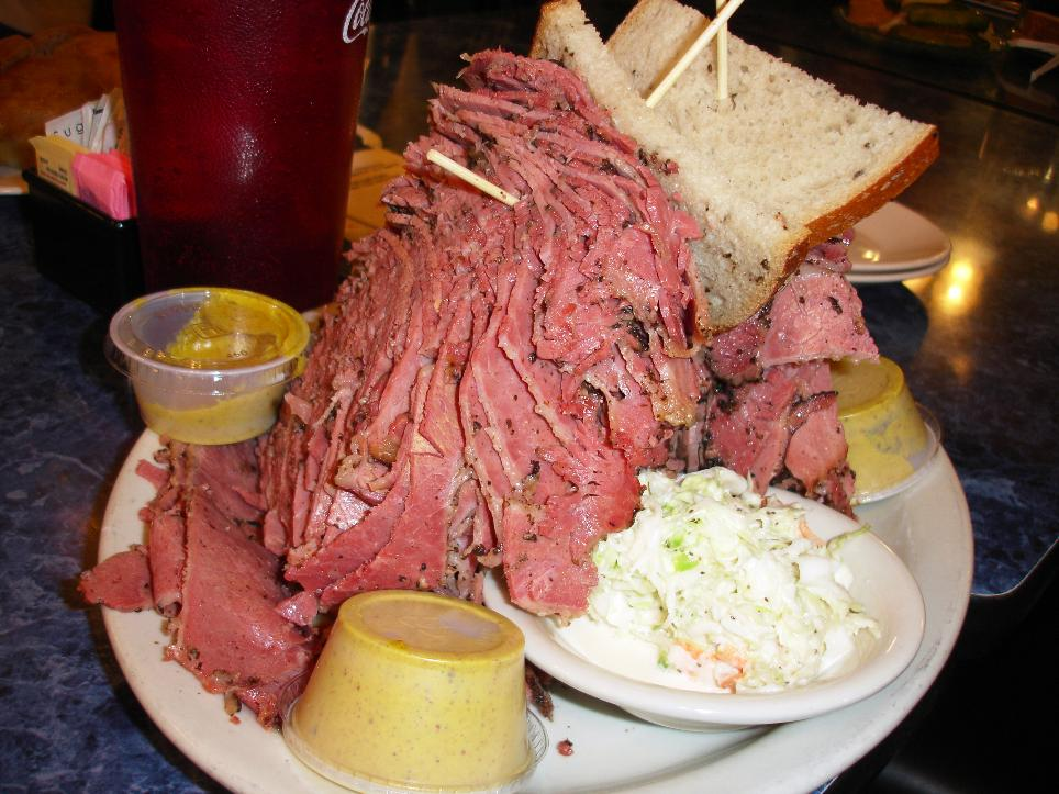 A 26-ounce pastrami sandwich should take care of you for days.