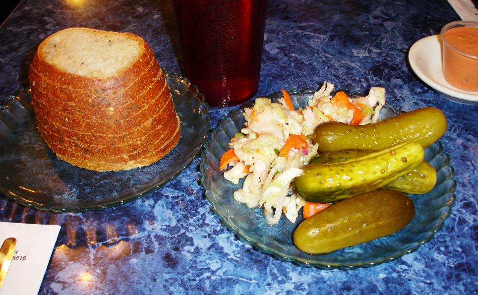 Diners have access to the World's Largest Pickle Bar. The health salad varies from visit to visit, but it's always one of the highlights. It's made with cabbage, red onion, sliced carrots, and sliced cucumbers in a pickly marinade. Be sure to take a stack of chewy-crusted rye bread.