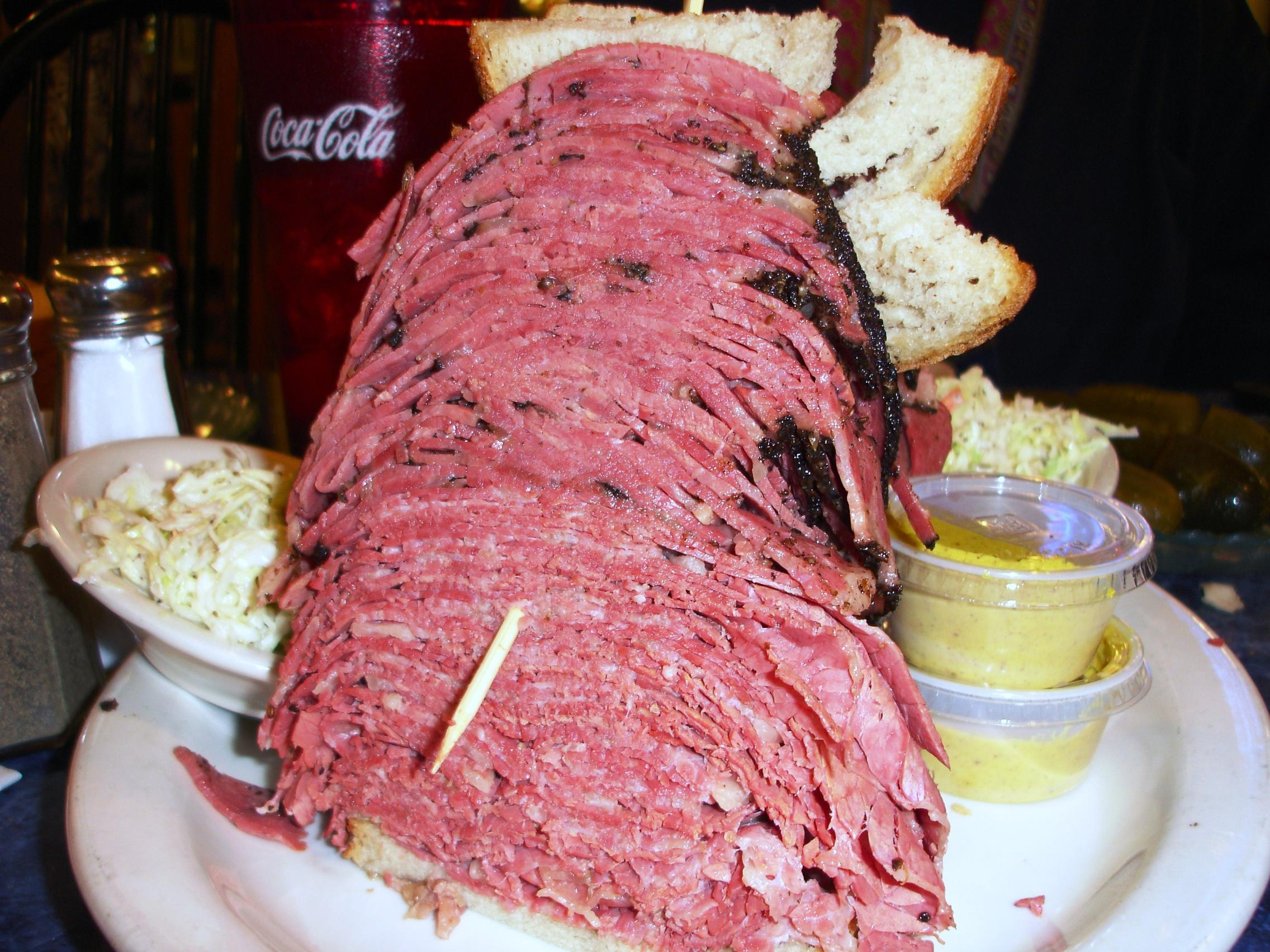 One pound ten ounces of pastrami (top) and corned beef (bottom). Both meats in top form.