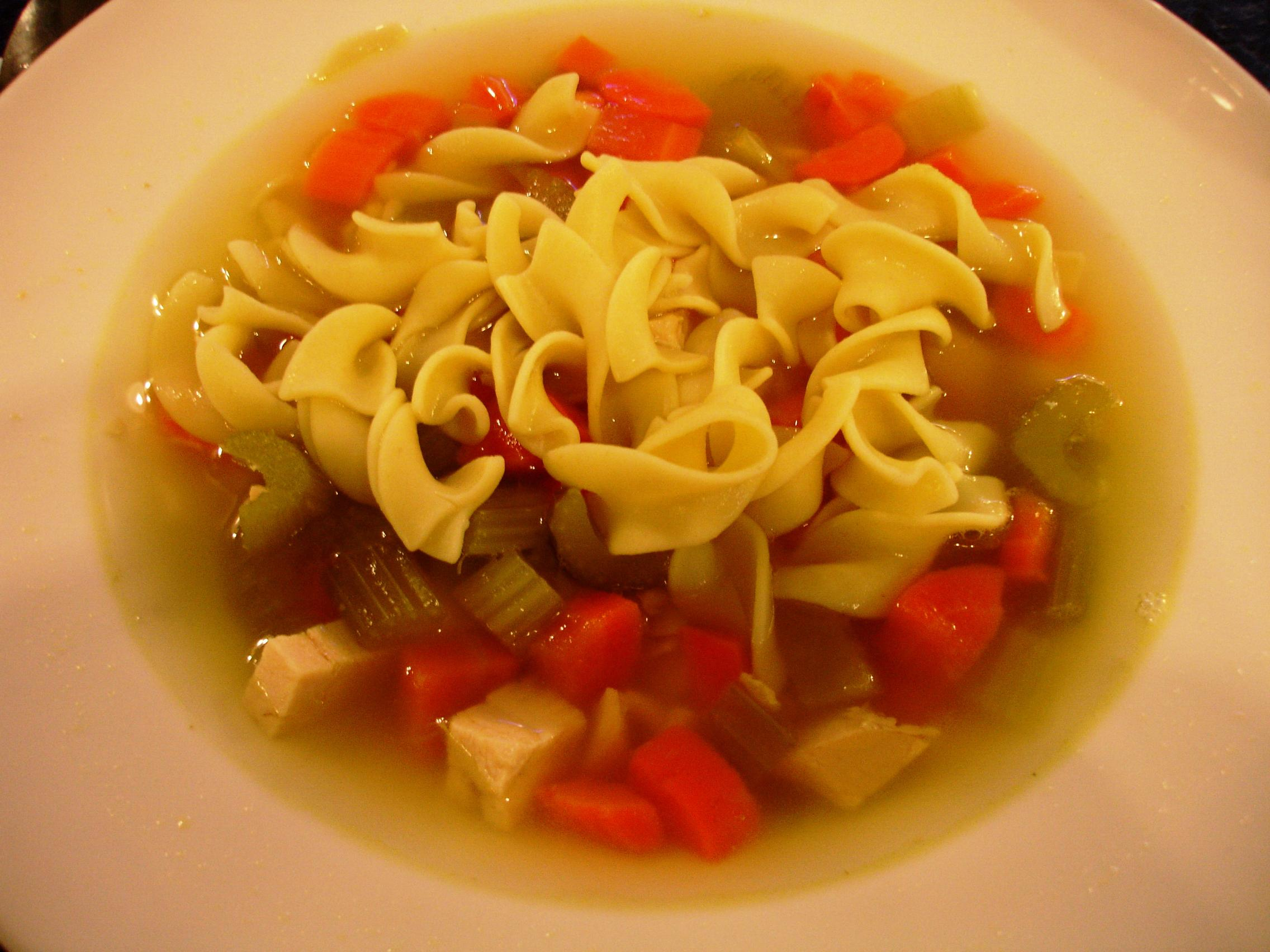 Harold's chicken noodle soup is warming and satisfying.