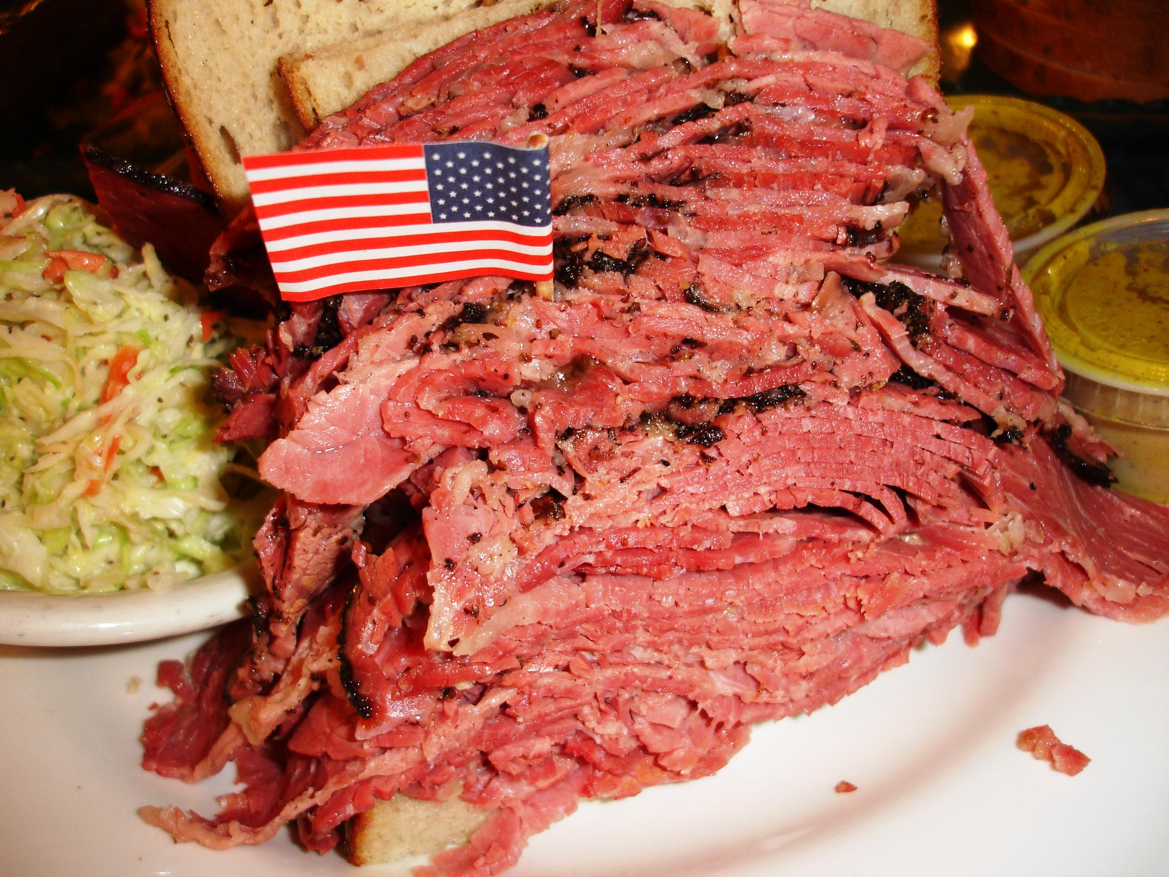 A large (meaning small) corned beef/pastrami combo.