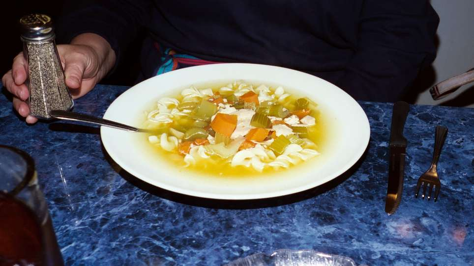 Here is a bowl of seriously satisfying chicken soup with noodles.