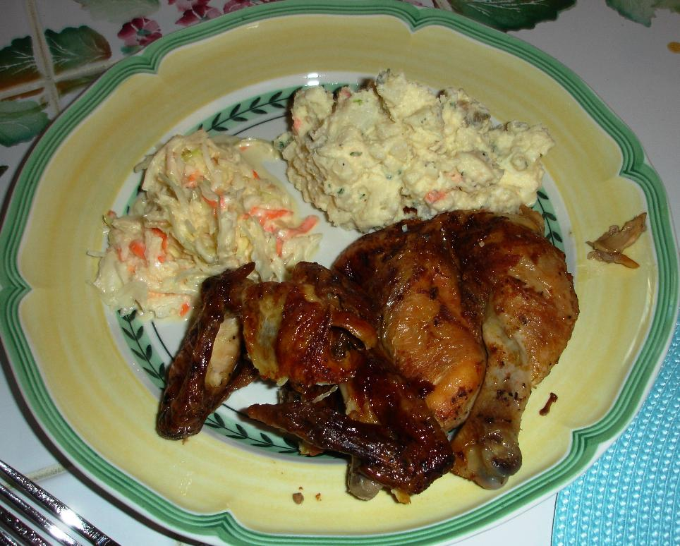 Roast chicken, potato salad, coleslaw: it doesn't get much better than this.