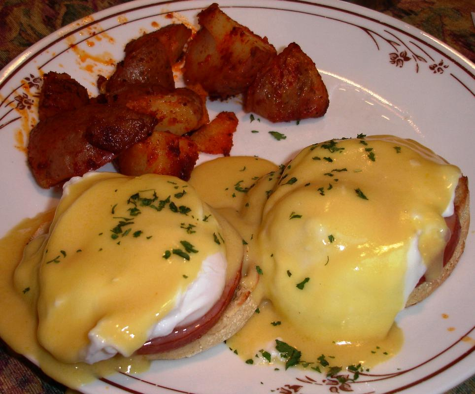 Eggs Benedict were a breakfast special one morning.