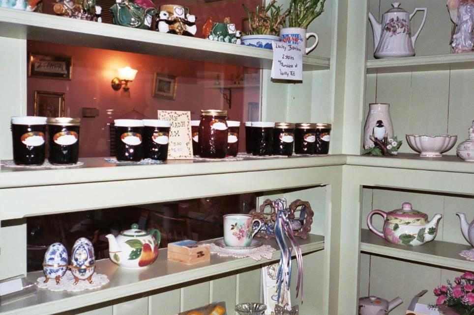 The front room has that strawberry jam for sale along with various knick knacks.