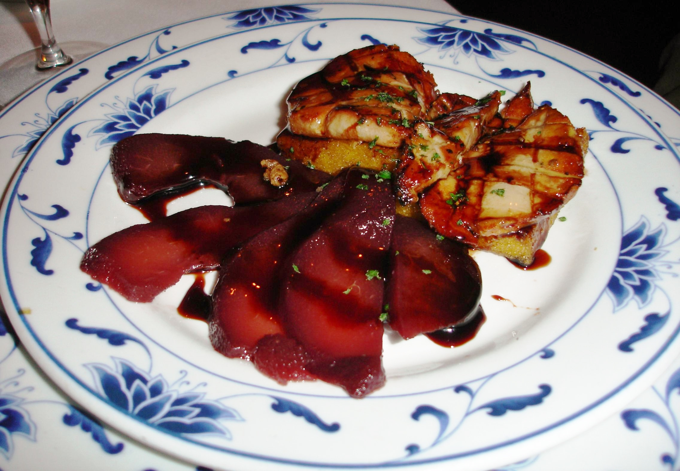 You can dine upscale on a dish of seared foie gras with fruit of the season which, during this fall visit, was wine-poached pears, or...