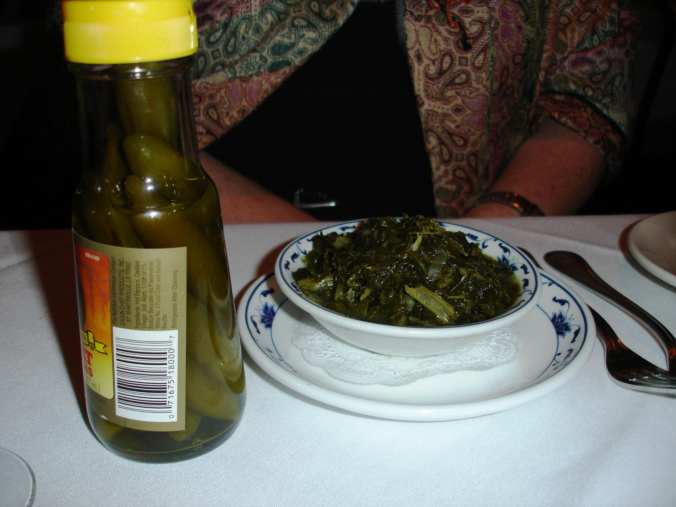 ... you can enjoy a simple bowl of old-fashioned mustard greens (sided by vinegar peppers, of course).
