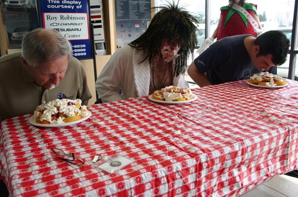 Contestants in the strawberry shortcake eating contest are not permitted to use their hands!