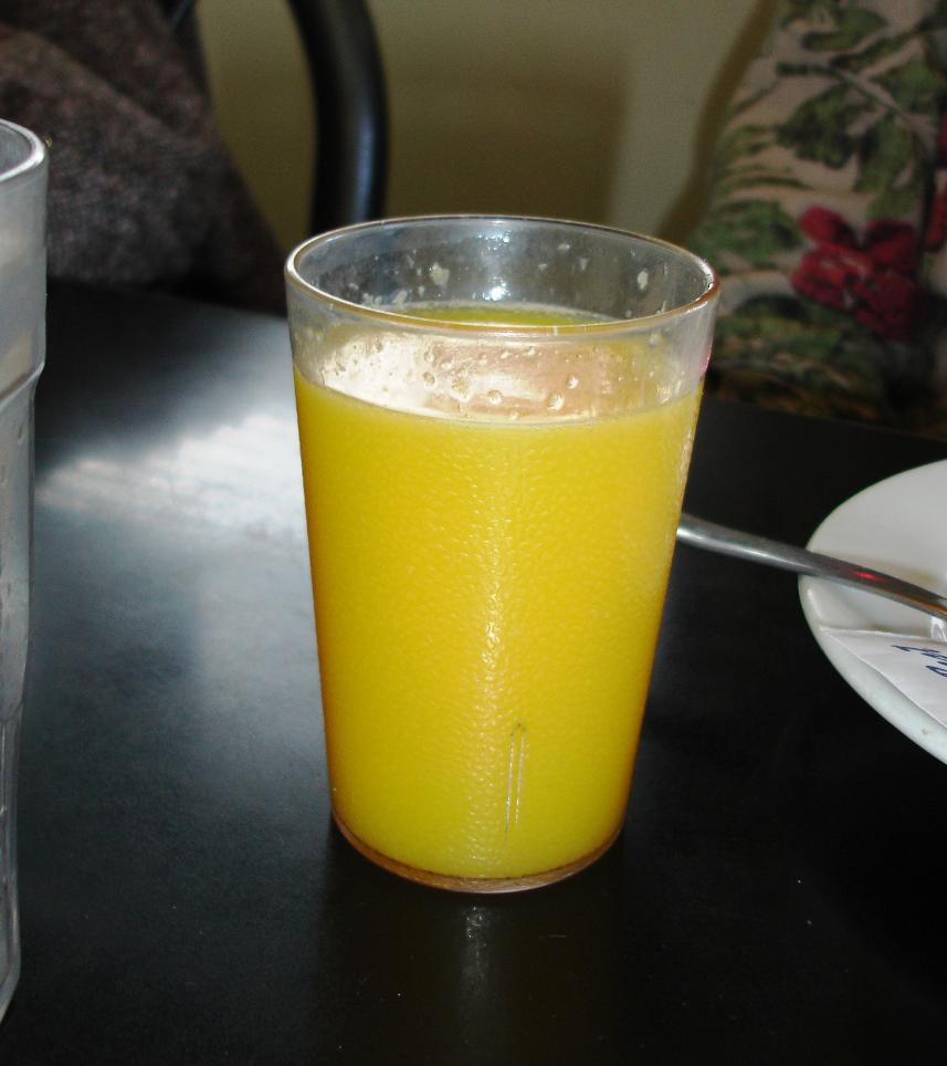 Fresh-squeezed OJ in a diner!