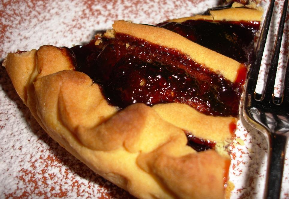 The cherry tart was made with a cookie crust that would do quite well on its own.  This is similar to a linzer tart.