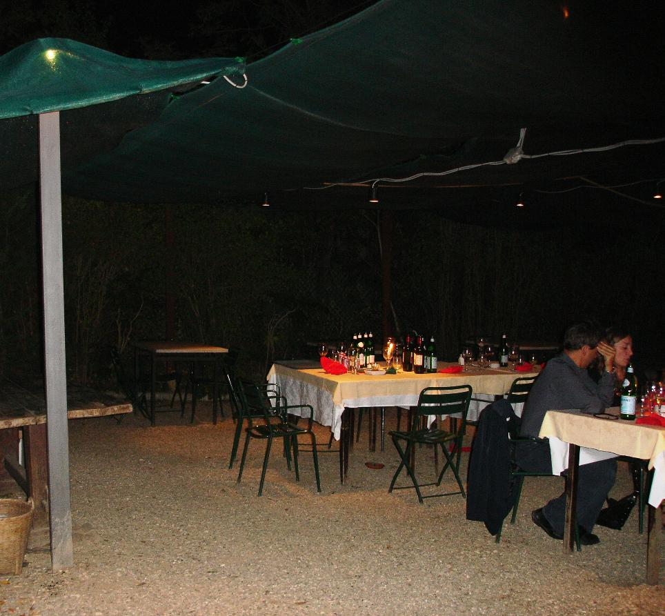 It was a beautiful evening for dining out of doors.  All around our table were burning coils of insect repellent, commonly used in Italy.