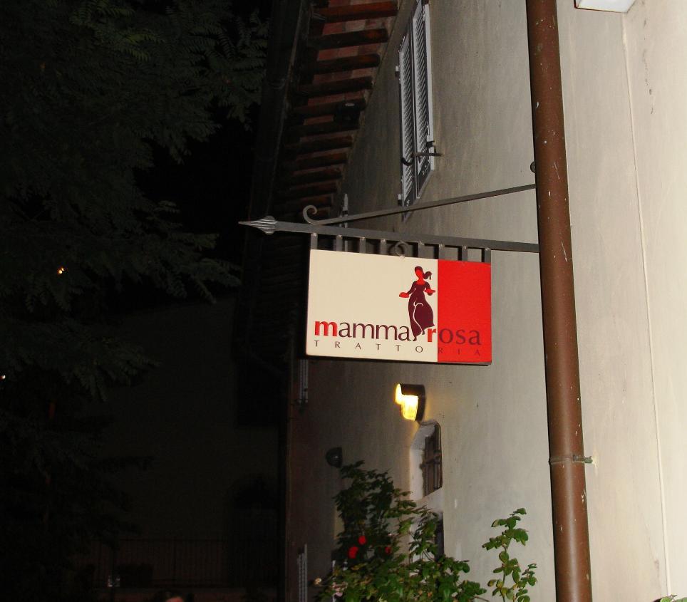 Sign, Mamma Rosa Trattoria, San Casciano Val di Pesa, Florence, Tuscany, Italy