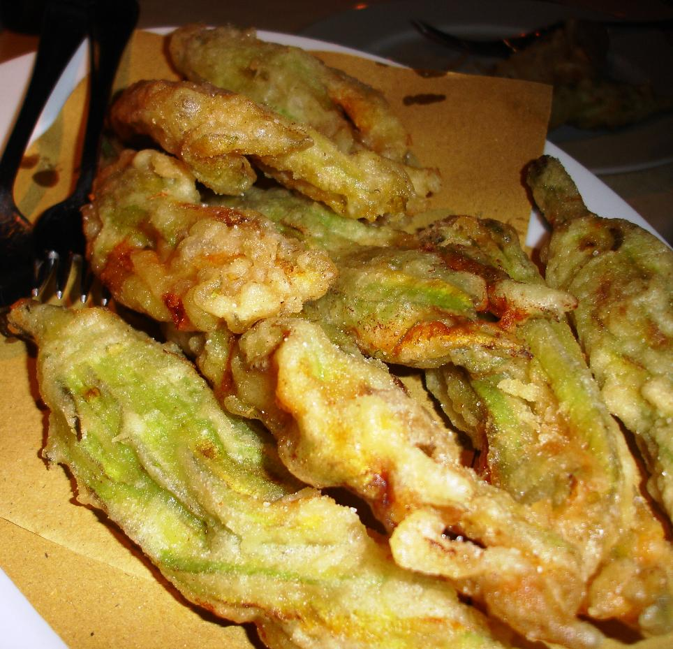 Another fried antipasto: these are fried squash blossoms.  You find the huge flowers readily available in season even in local supermarkets.