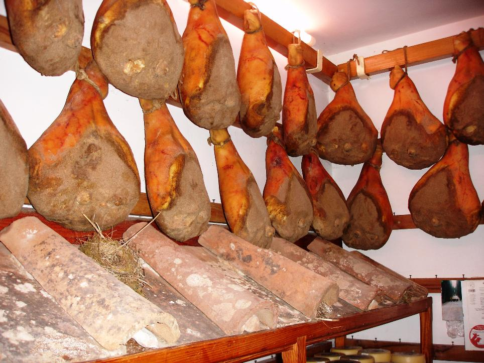 A view of prosciuttos hanging in Falorni on the plaza.  You can have a sample at Mangiando.
